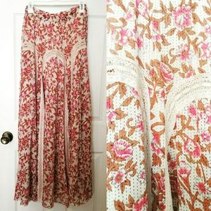 Free People Boho floral and lace maxi skirt